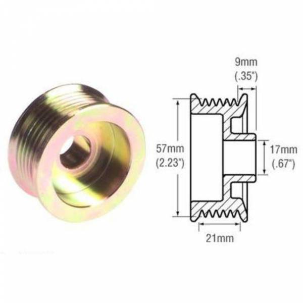 DTS - New Alternator Clutch Pulley for Alternator 3G Ford Bronco 6 Groove - 24-2254